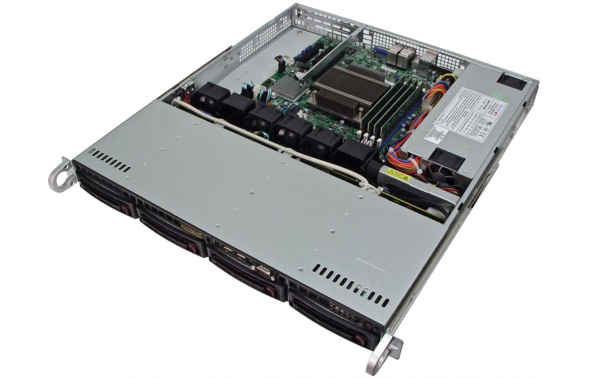1U Rackmount Server - 4 Hot-Swap Bays - 4 LAN ports - 48V DC Power-5