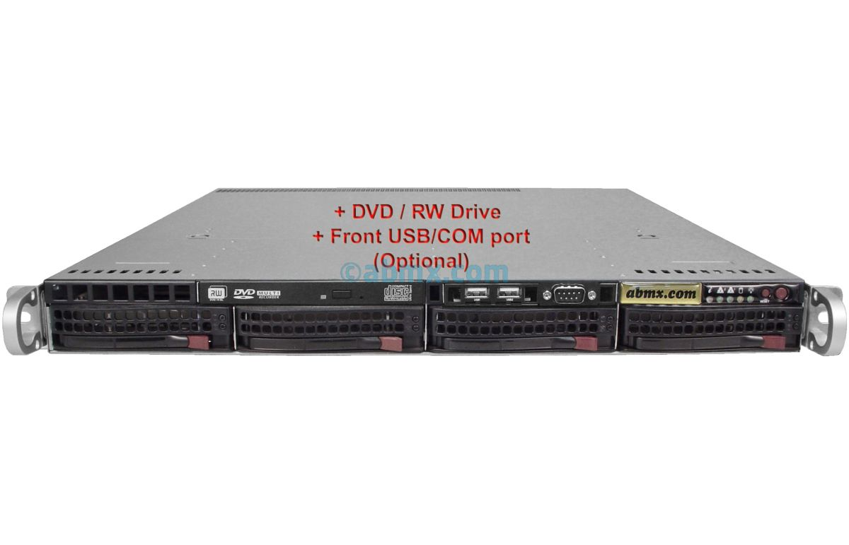 1U Rackmount Server - 4 Hot-Swap Bays - 4 LAN ports - 48V DC Power-8